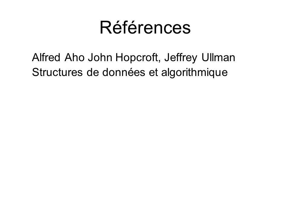 Références Alfred Aho John Hopcroft, Jeffrey Ullman Structures de données et algorithmique