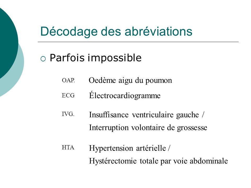 Décodage des abréviations Parfois impossible OAP. Oedème aigu du poumon ECG IVG. HTA Électrocardiogramme Insuffisance ventriculaire gauche / Interrupt