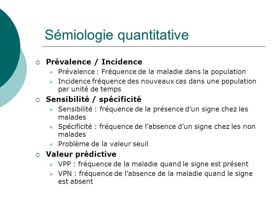 Sémiologie quantitative Prévalence / Incidence Prévalence : Fréquence de la maladie dans la population Incidence fréquence des nouveaux cas dans une p