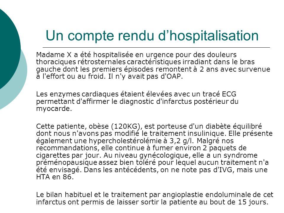 Un compte rendu dhospitalisation Madame X a été hospitalisée en urgence pour des douleurs thoraciques rétrosternales caractéristiques irradiant dans l