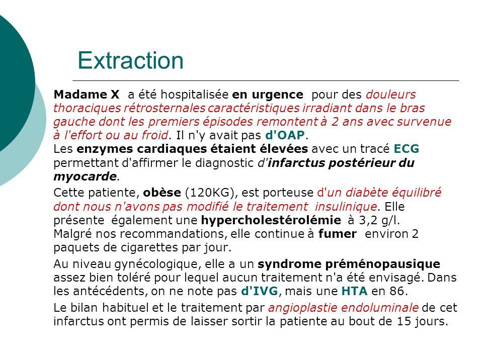 Extraction Madame X a été hospitalisée en urgence pour des douleurs thoraciques rétrosternales caractéristiques irradiant dans le bras gauche dont les