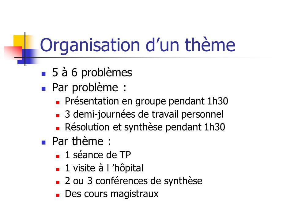 Organisation dun thème 5 à 6 problèmes Par problème : Présentation en groupe pendant 1h30 3 demi-journées de travail personnel Résolution et synthèse