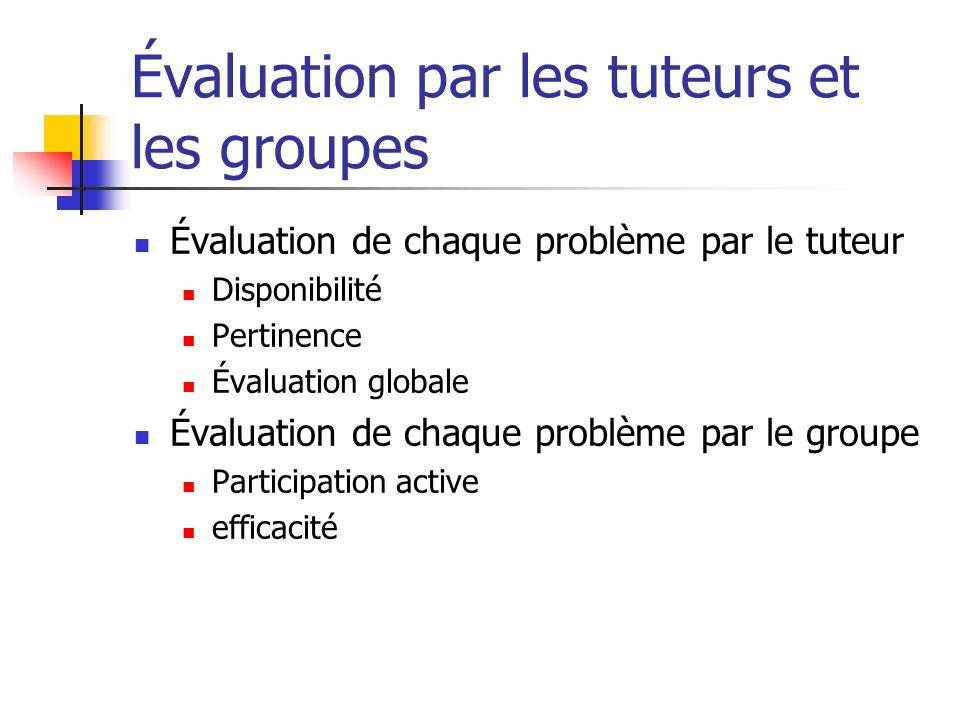 Évaluation par les tuteurs et les groupes Évaluation de chaque problème par le tuteur Disponibilité Pertinence Évaluation globale Évaluation de chaque
