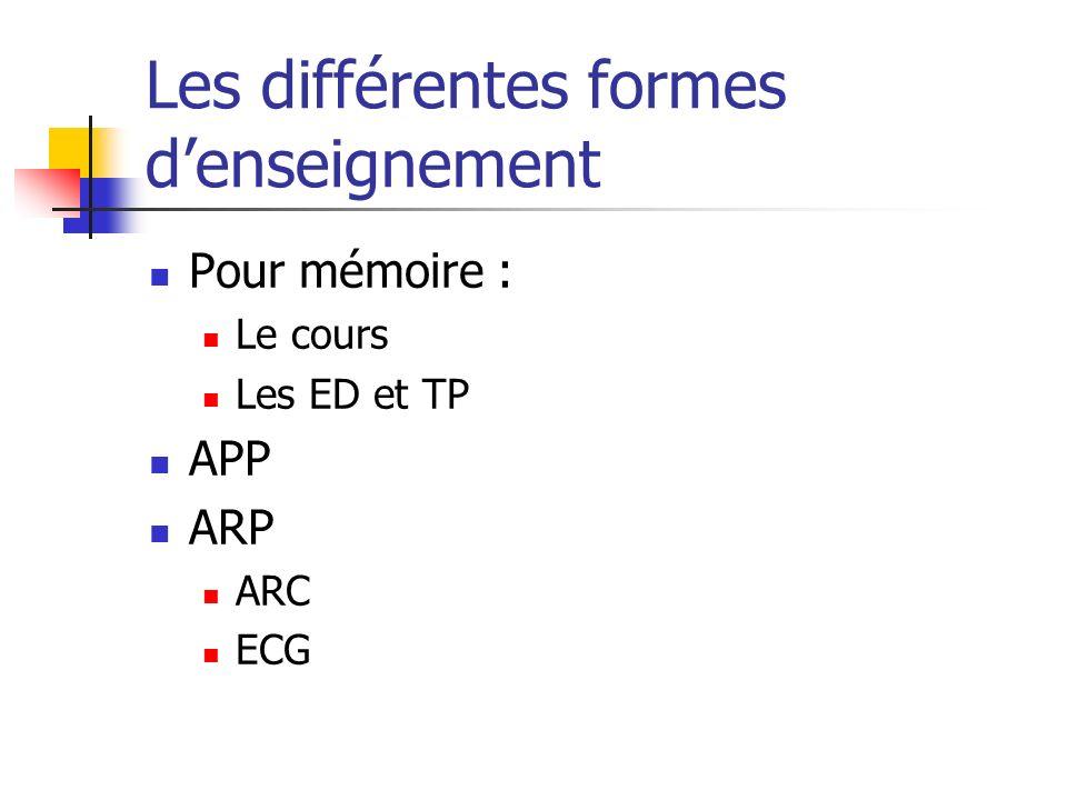 Les différentes formes denseignement Pour mémoire : Le cours Les ED et TP APP ARP ARC ECG