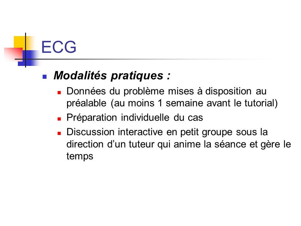 ECG Modalités pratiques : Données du problème mises à disposition au préalable (au moins 1 semaine avant le tutorial) Préparation individuelle du cas