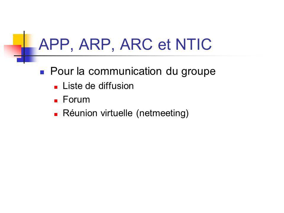 APP, ARP, ARC et NTIC Pour la communication du groupe Liste de diffusion Forum Réunion virtuelle (netmeeting)