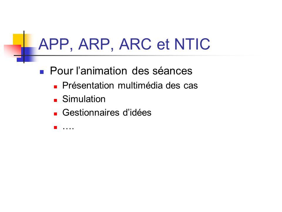 APP, ARP, ARC et NTIC Pour lanimation des séances Présentation multimédia des cas Simulation Gestionnaires didées ….