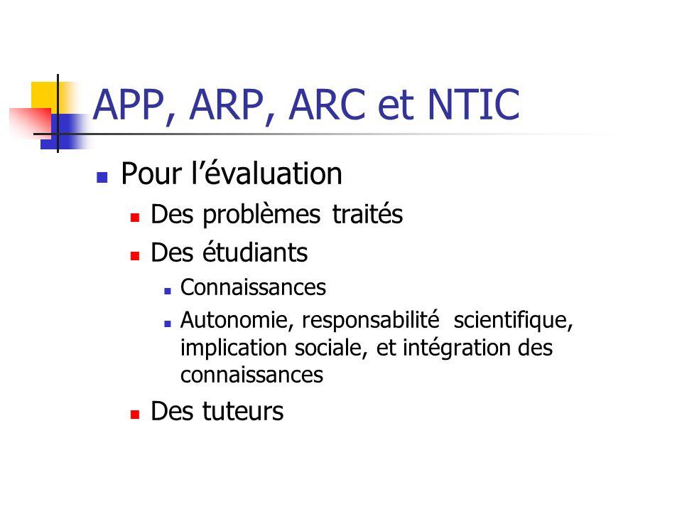 APP, ARP, ARC et NTIC Pour lévaluation Des problèmes traités Des étudiants Connaissances Autonomie, responsabilité scientifique, implication sociale,