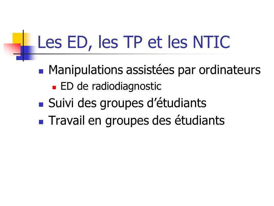 Les ED, les TP et les NTIC Manipulations assistées par ordinateurs ED de radiodiagnostic Suivi des groupes détudiants Travail en groupes des étudiants