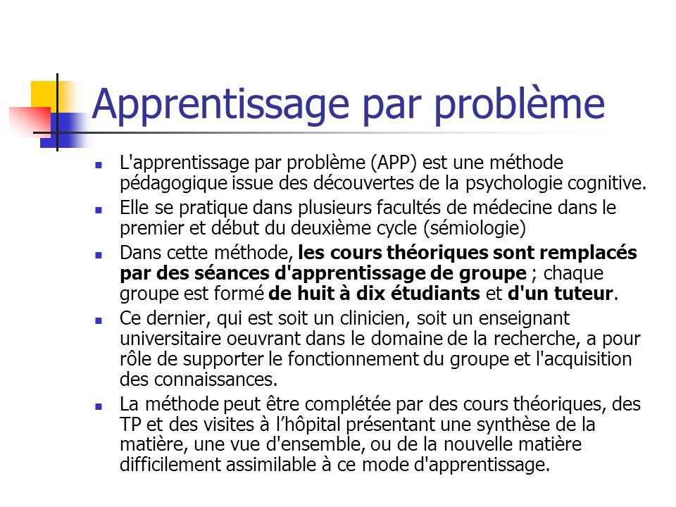 Apprentissage par problème L'apprentissage par problème (APP) est une méthode pédagogique issue des découvertes de la psychologie cognitive. Elle se p