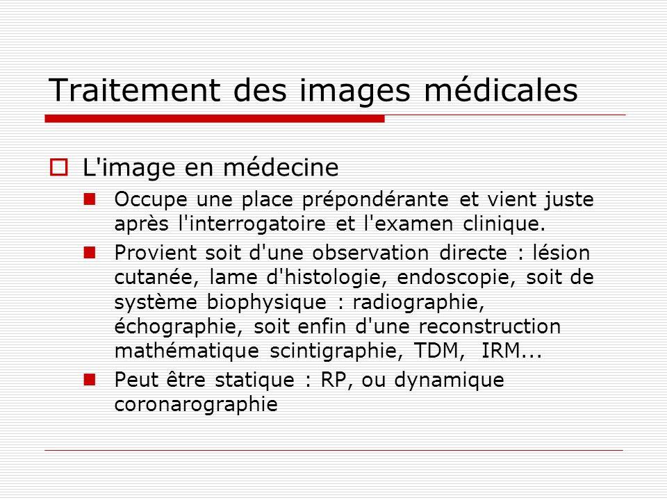 Traitement des images médicales L'image en médecine Occupe une place prépondérante et vient juste après l'interrogatoire et l'examen clinique. Provien