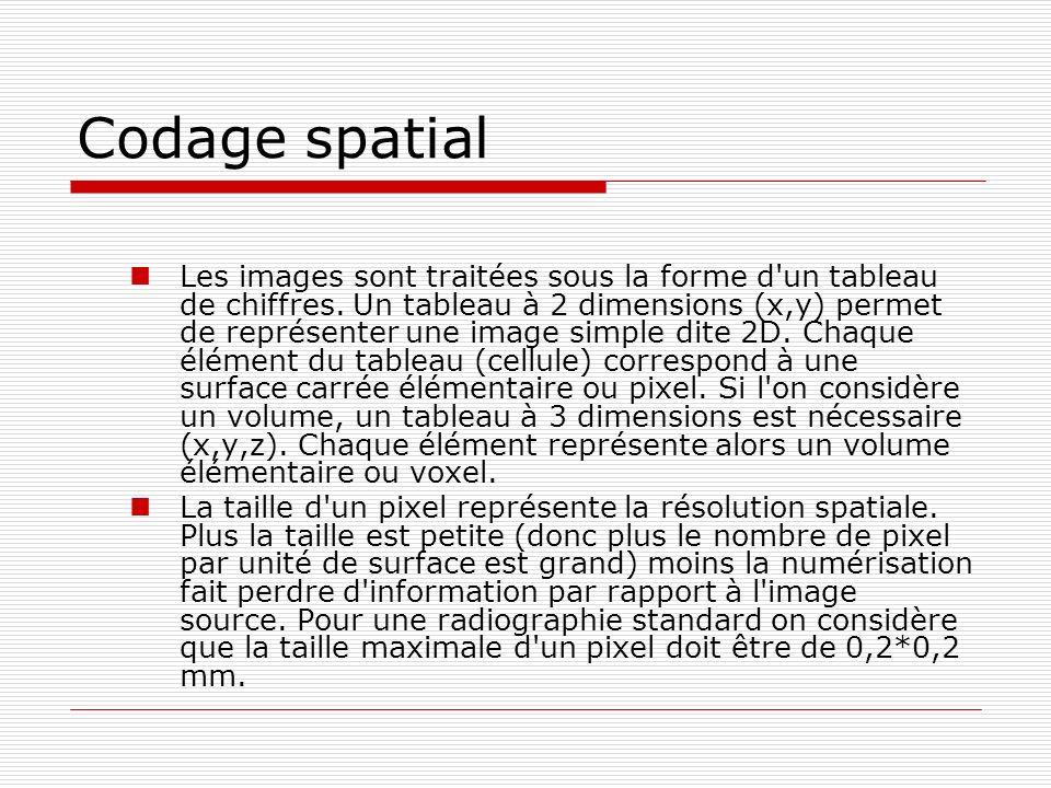 Codage spatial Les images sont traitées sous la forme d'un tableau de chiffres. Un tableau à 2 dimensions (x,y) permet de représenter une image simple