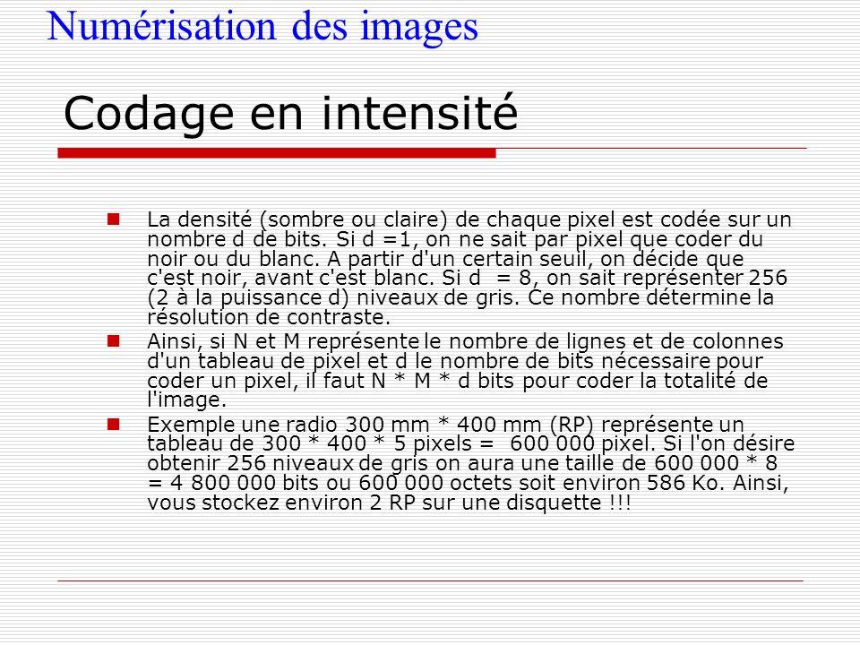 Numérisation des images Codage en intensité La densité (sombre ou claire) de chaque pixel est codée sur un nombre d de bits. Si d =1, on ne sait par p