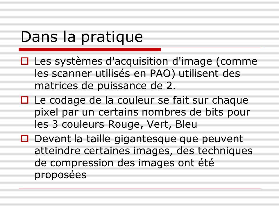 Dans la pratique Les systèmes d'acquisition d'image (comme les scanner utilisés en PAO) utilisent des matrices de puissance de 2. Le codage de la coul