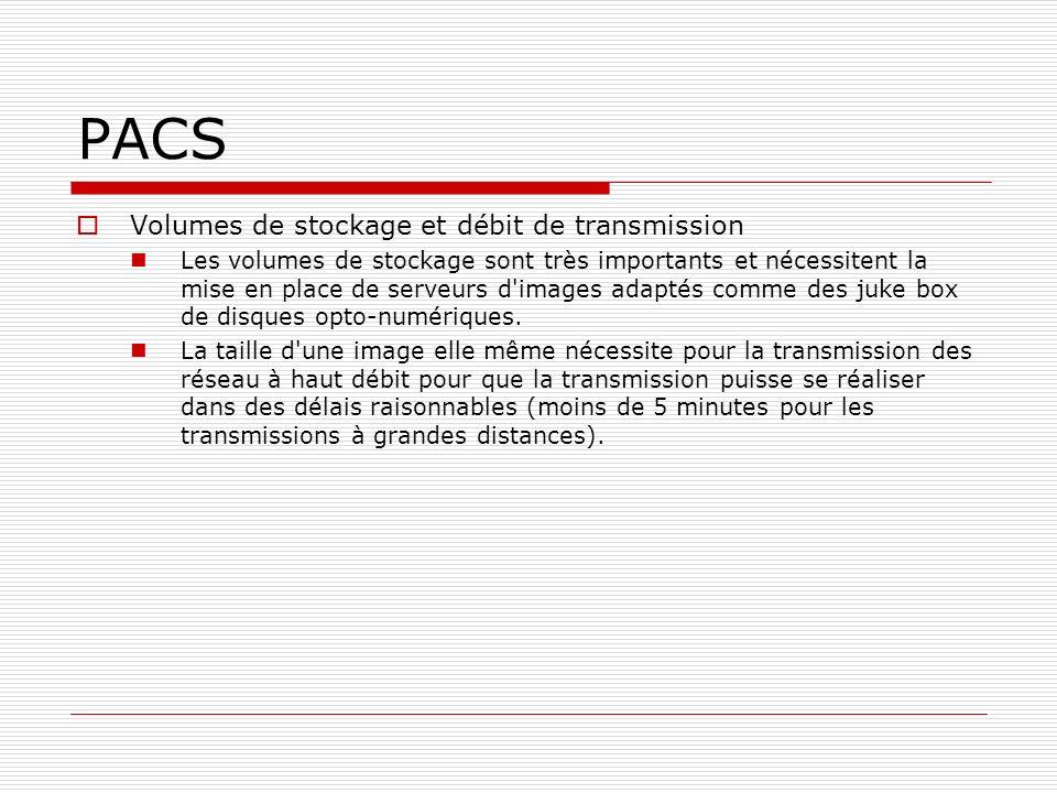 PACS Volumes de stockage et débit de transmission Les volumes de stockage sont très importants et nécessitent la mise en place de serveurs d'images ad