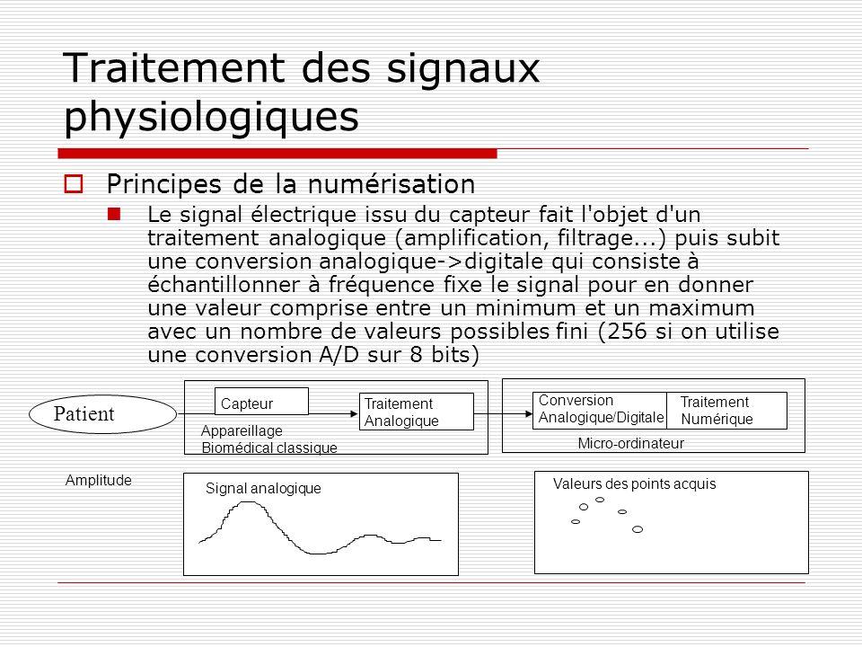Traitement des signaux physiologiques Principes de la numérisation Le signal électrique issu du capteur fait l'objet d'un traitement analogique (ampli