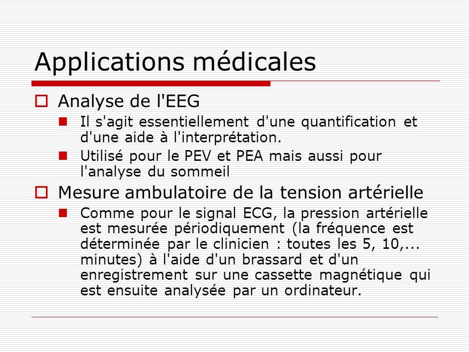 Applications médicales Analyse de l'EEG Il s'agit essentiellement d'une quantification et d'une aide à l'interprétation. Utilisé pour le PEV et PEA ma