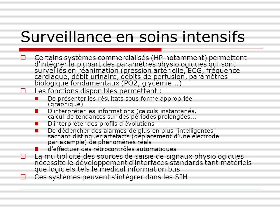 Surveillance en soins intensifs Certains systèmes commercialisés (HP notamment) permettent d'intégrer la plupart des paramètres physiologiques qui son