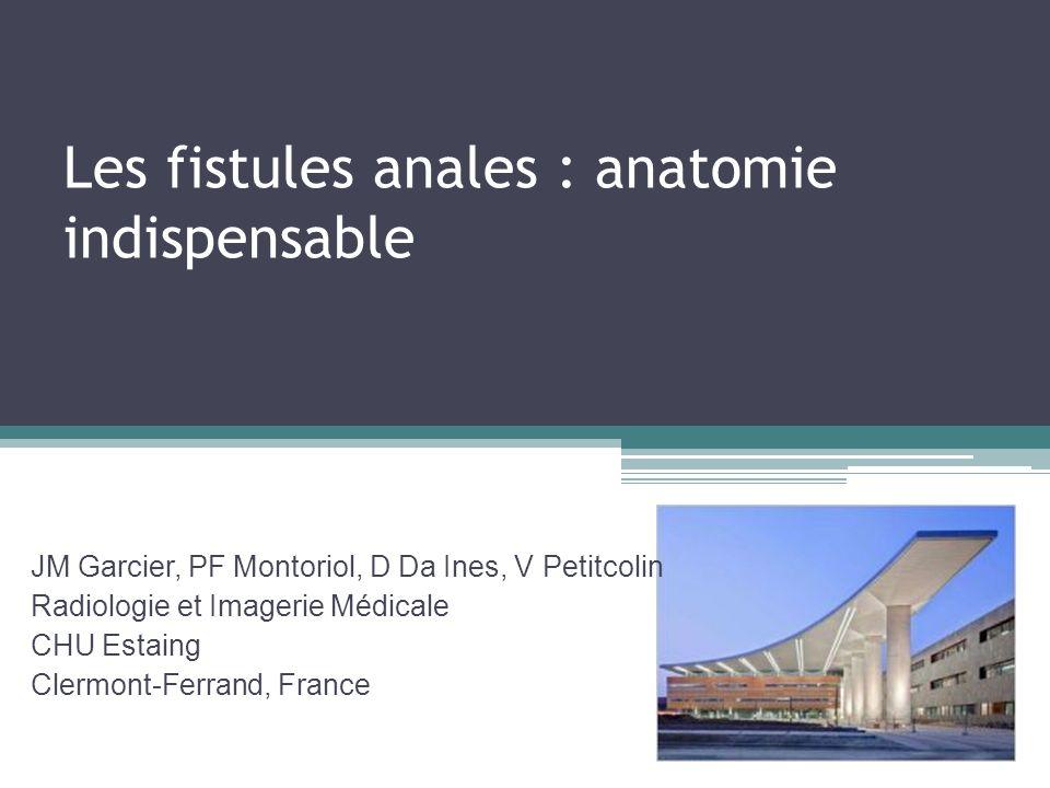 Les fistules anales : anatomie indispensable JM Garcier, PF Montoriol, D Da Ines, V Petitcolin Radiologie et Imagerie Médicale CHU Estaing Clermont-Fe