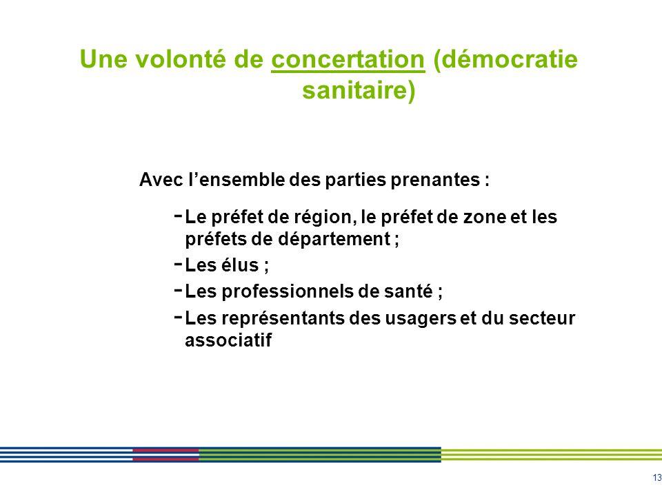 13 Une volonté de concertation (démocratie sanitaire) Avec lensemble des parties prenantes : - Le préfet de région, le préfet de zone et les préfets d