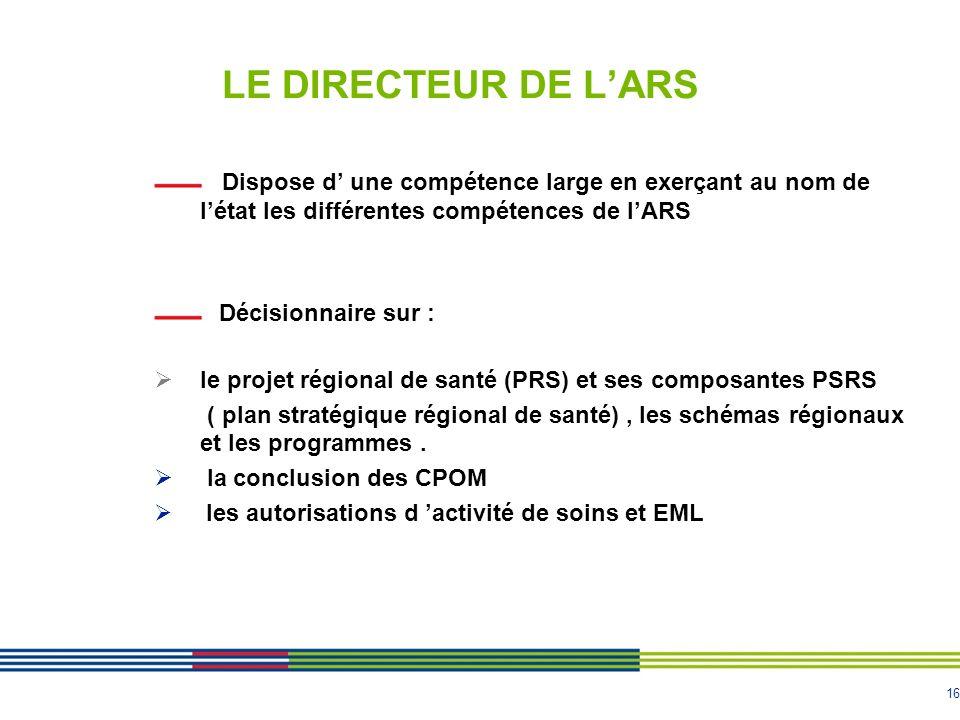 16 LE DIRECTEUR DE LARS Dispose d une compétence large en exerçant au nom de létat les différentes compétences de lARS Décisionnaire sur : le projet r