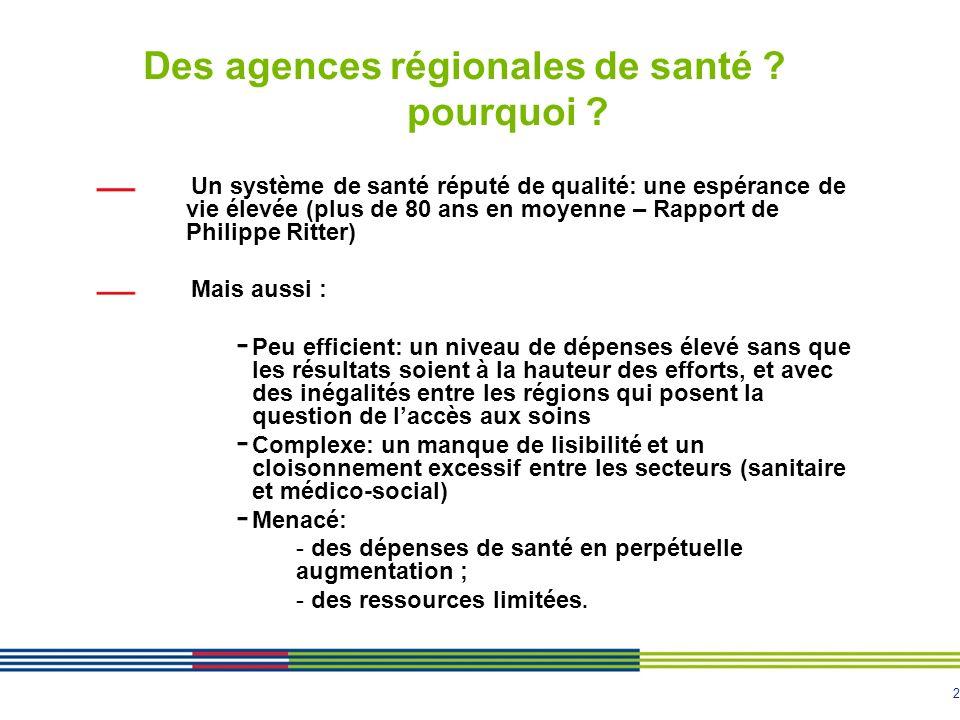 2 Des agences régionales de santé ? pourquoi ? Un système de santé réputé de qualité: une espérance de vie élevée (plus de 80 ans en moyenne – Rapport