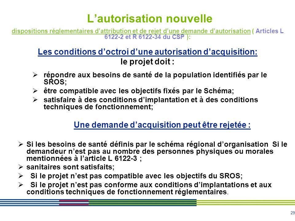 29 Lautorisation nouvelle dispositions réglementaires dattribution et de rejet dune demande dautorisation ( Articles L 6122-2 et R 6122-34 du CSP ): L