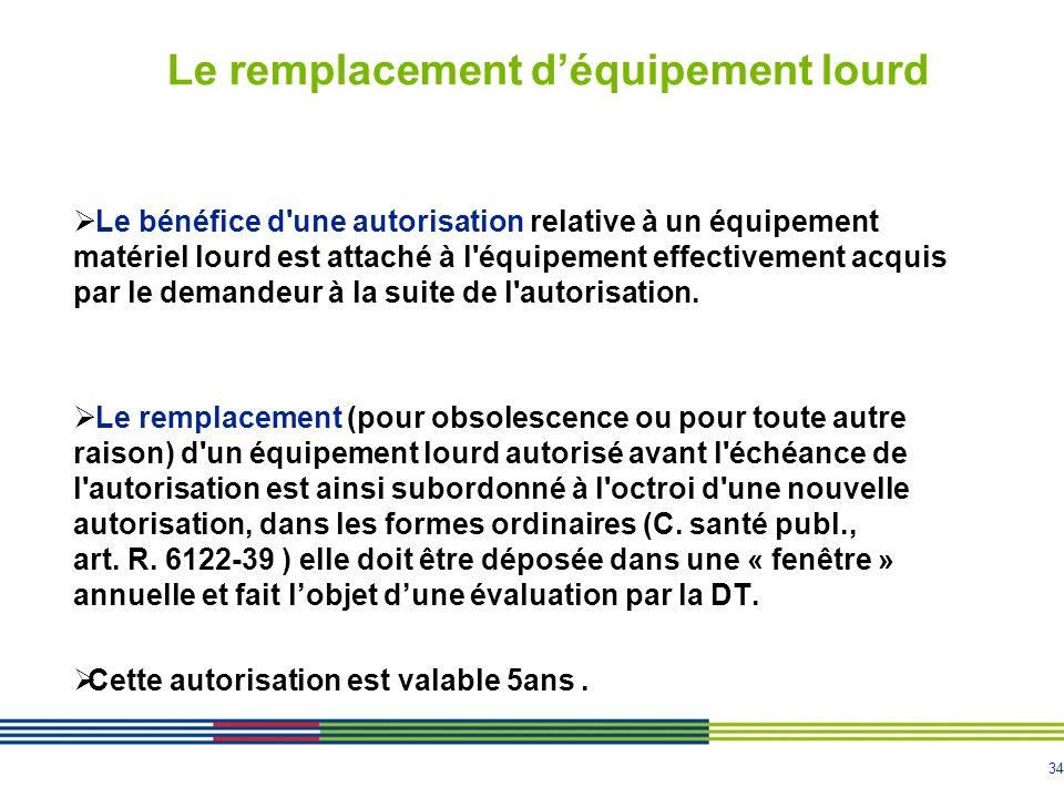 34 Le remplacement déquipement lourd Le bénéfice d'une autorisation relative à un équipement matériel lourd est attaché à l'équipement effectivement a
