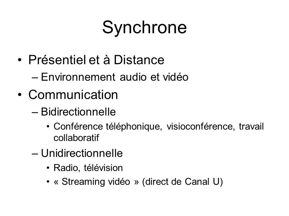 Synchrone Présentiel et à Distance –Environnement audio et vidéo Communication –Bidirectionnelle Conférence téléphonique, visioconférence, travail col