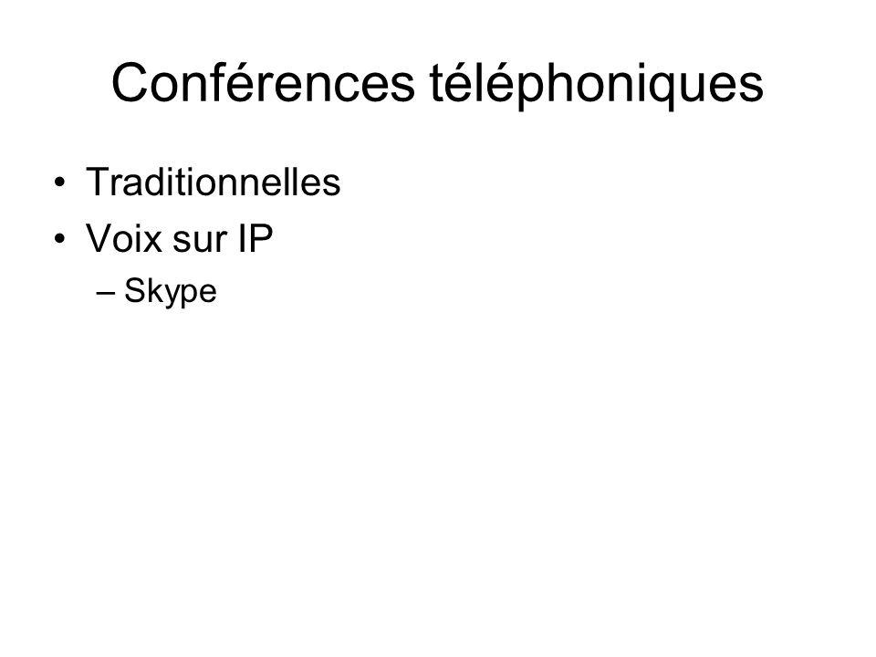 Conférences téléphoniques Traditionnelles Voix sur IP –Skype