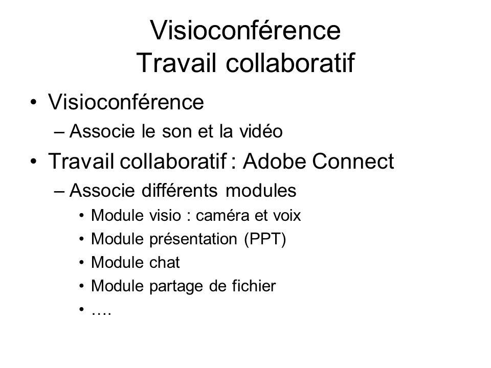 Visioconférence Travail collaboratif Visioconférence –Associe le son et la vidéo Travail collaboratif : Adobe Connect –Associe différents modules Modu