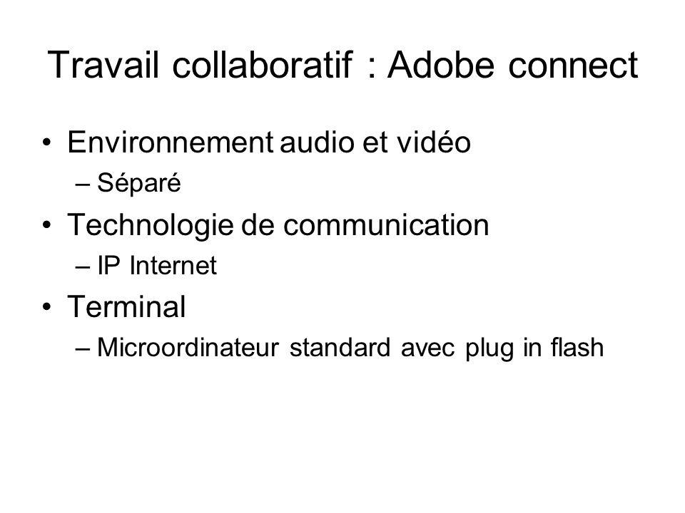 Travail collaboratif : Adobe connect Environnement audio et vidéo –Séparé Technologie de communication –IP Internet Terminal –Microordinateur standard
