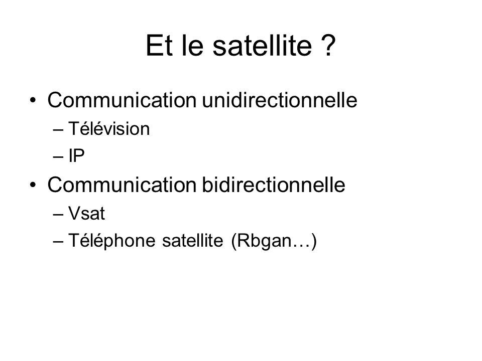 Et le satellite ? Communication unidirectionnelle –Télévision –IP Communication bidirectionnelle –Vsat –Téléphone satellite (Rbgan…)