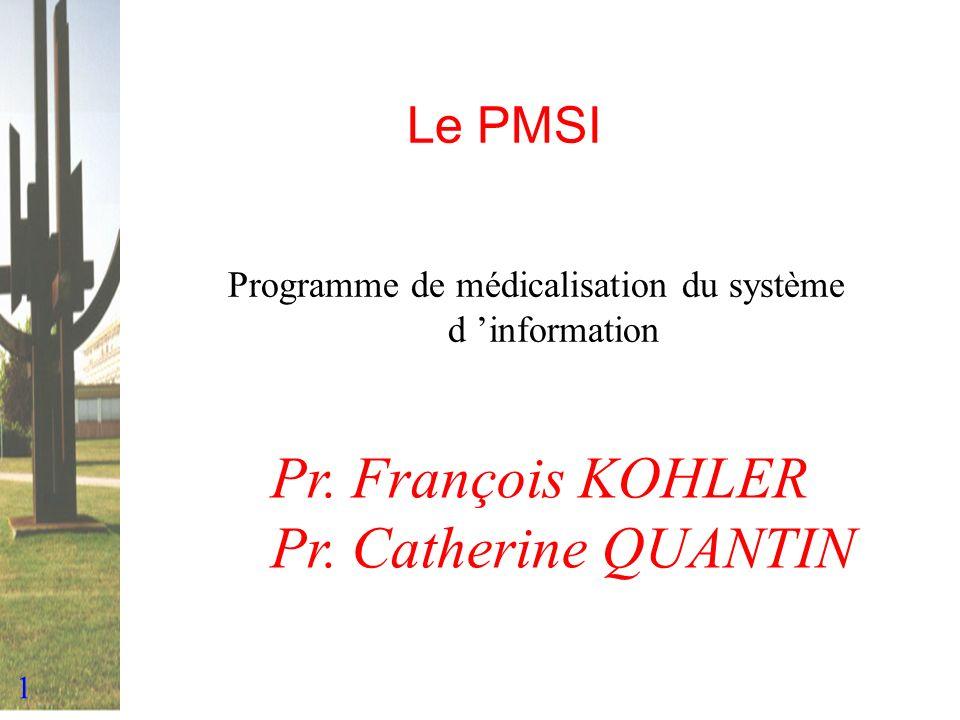 1 Le PMSI Programme de médicalisation du système d information Pr. François KOHLER Pr. Catherine QUANTIN