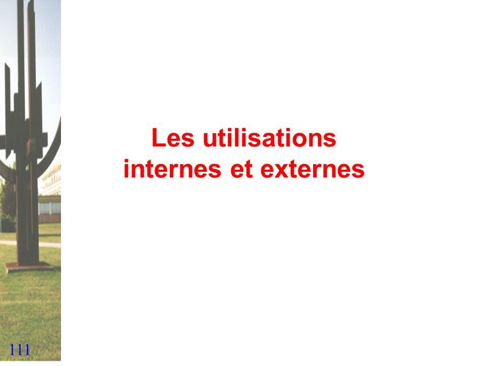 111 Les utilisations internes et externes