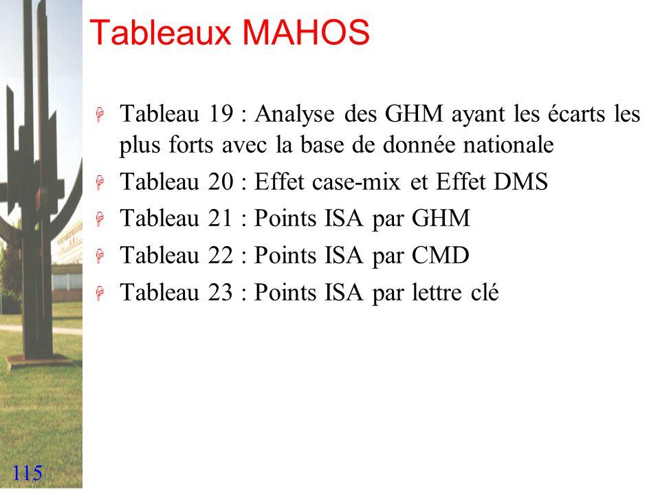 115 Tableaux MAHOS H Tableau 19 : Analyse des GHM ayant les écarts les plus forts avec la base de donnée nationale H Tableau 20 : Effet case-mix et Ef