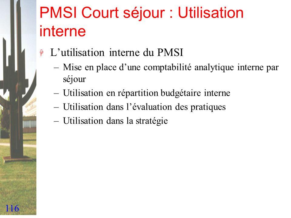 116 PMSI Court séjour : Utilisation interne H Lutilisation interne du PMSI –Mise en place dune comptabilité analytique interne par séjour –Utilisation