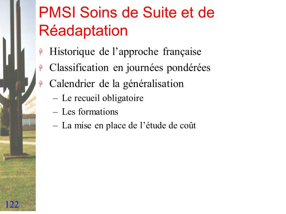 122 PMSI Soins de Suite et de Réadaptation H Historique de lapproche française H Classification en journées pondérées H Calendrier de la généralisatio