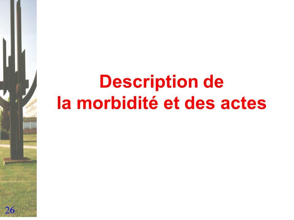 26 Description de la morbidité et des actes