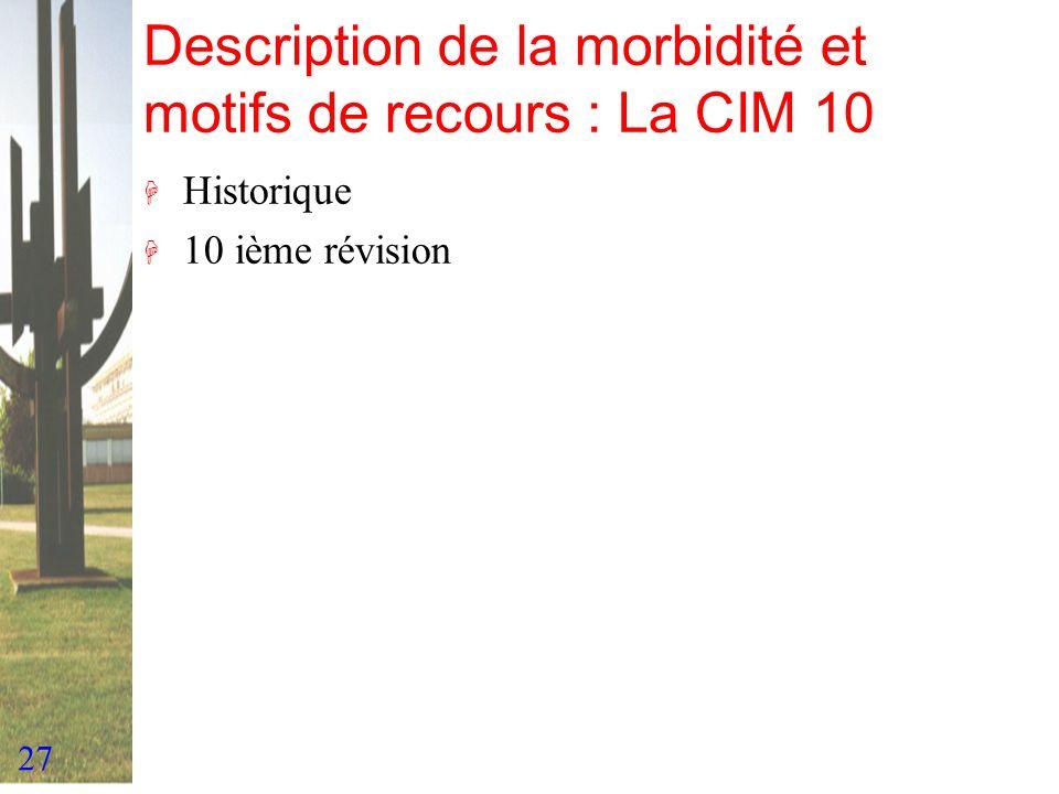 27 Description de la morbidité et motifs de recours : La CIM 10 H Historique H 10 ième révision