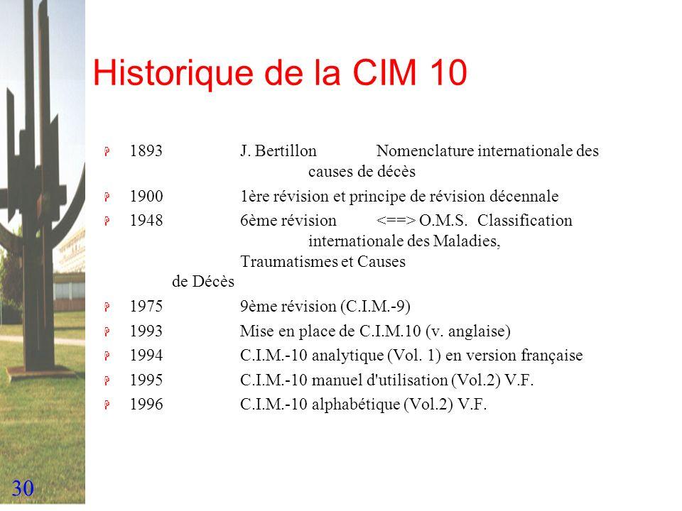30 Historique de la CIM 10 H 1893J. BertillonNomenclature internationale des causes de décès H 19001ère révision et principe de révision décennale H 1