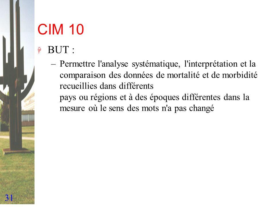 31 CIM 10 H BUT : –Permettre l'analyse systématique, l'interprétation et la comparaison des données de mortalité et de morbidité recueillies dans diff