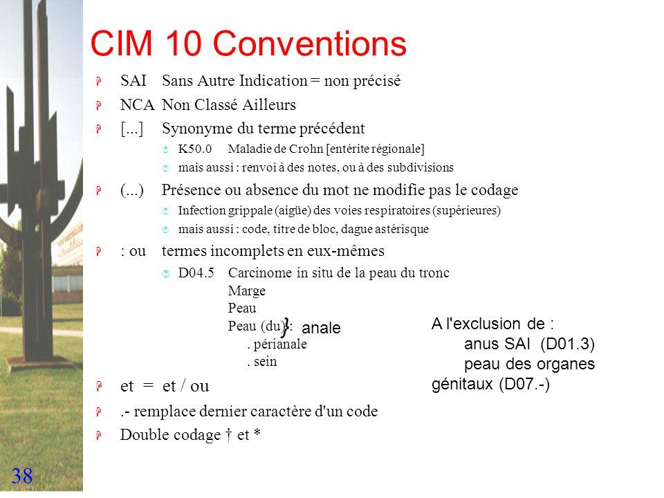 38 CIM 10 Conventions H SAISans Autre Indication = non précisé H NCANon Classé Ailleurs H [...]Synonyme du terme précédent ‡ K50.0 Maladie de Crohn [e