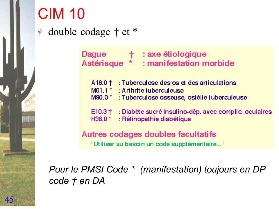 45 CIM 10 H double codage et * Pour le PMSI Code * (manifestation) toujours en DP code en DA