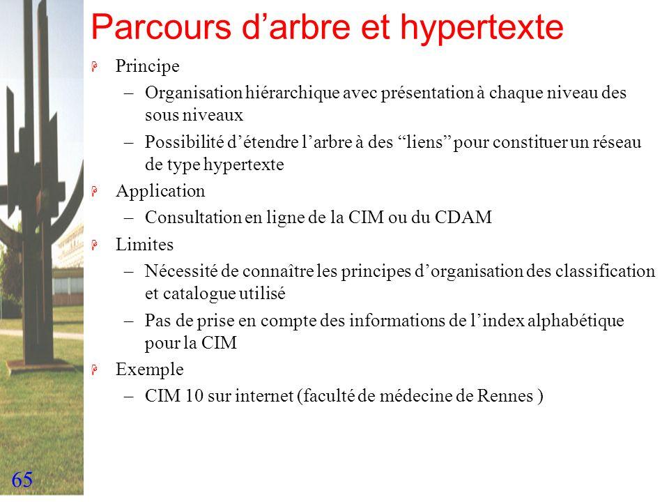 65 Parcours darbre et hypertexte H Principe –Organisation hiérarchique avec présentation à chaque niveau des sous niveaux –Possibilité détendre larbre