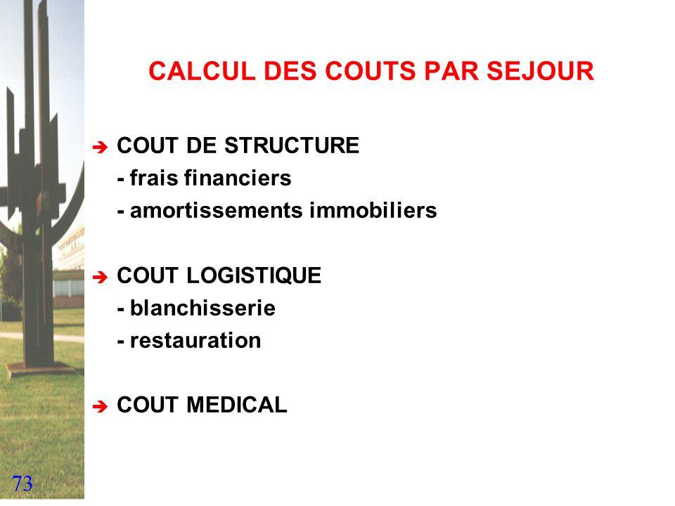 73 CALCUL DES COUTS PAR SEJOUR COUT DE STRUCTURE - frais financiers - amortissements immobiliers COUT LOGISTIQUE - blanchisserie - restauration COUT M