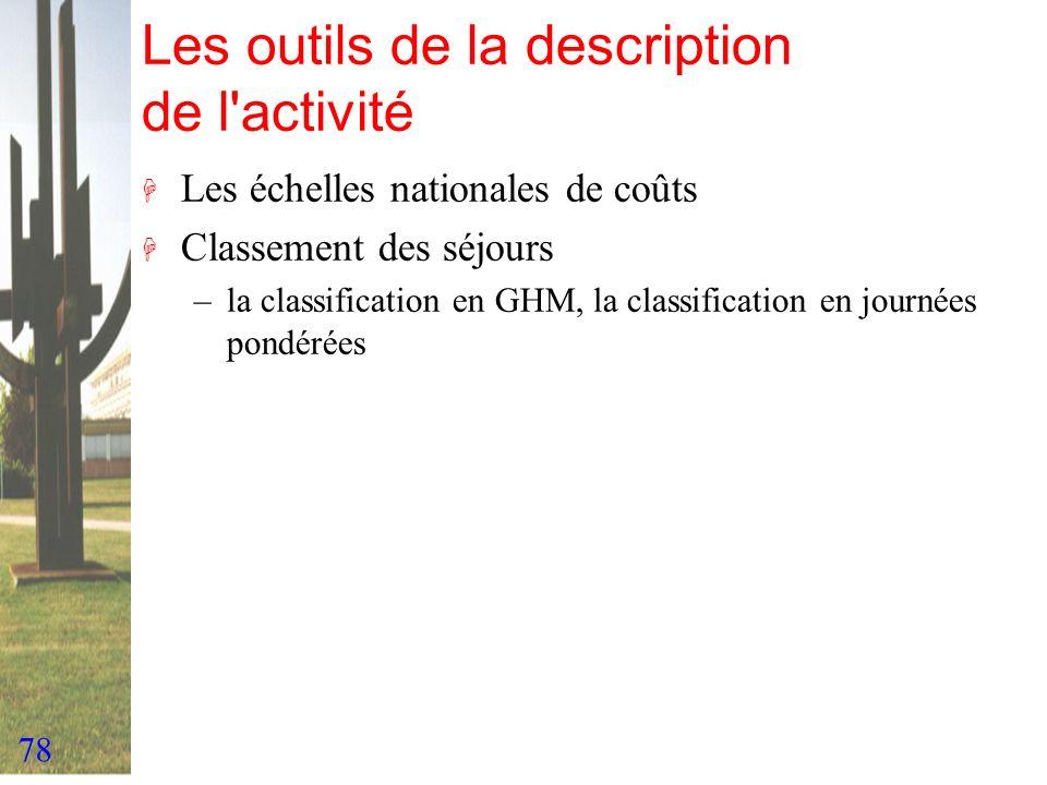 78 Les outils de la description de l'activité H Les échelles nationales de coûts H Classement des séjours –la classification en GHM, la classification