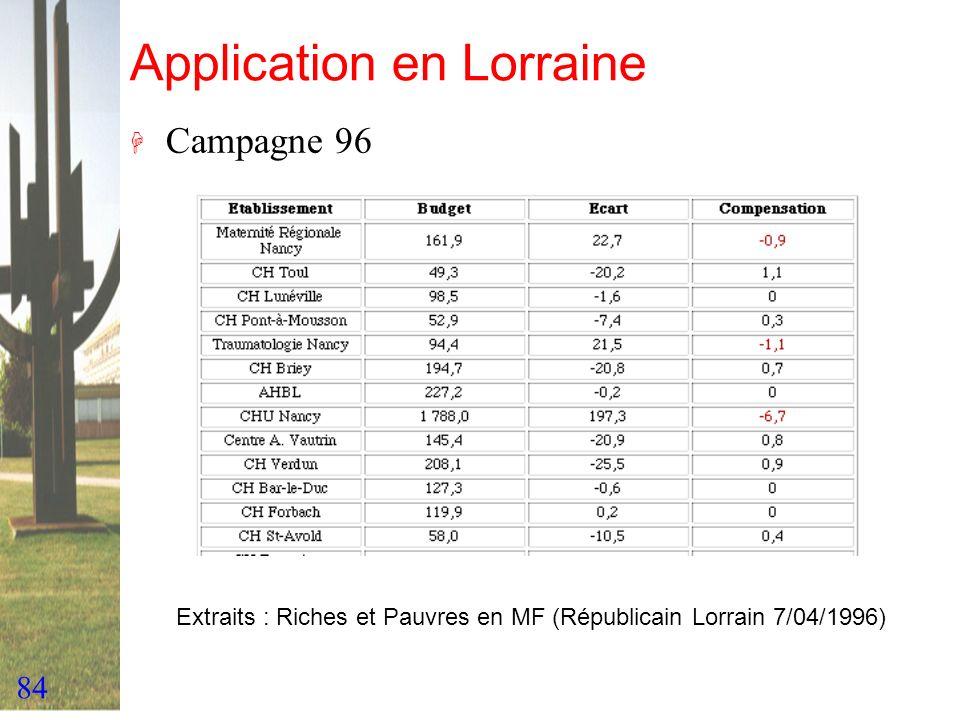 84 Application en Lorraine H Campagne 96 Extraits : Riches et Pauvres en MF (Républicain Lorrain 7/04/1996)