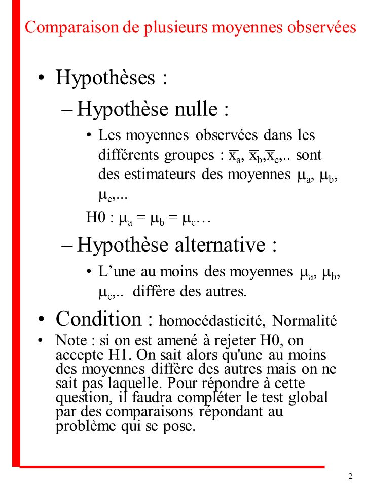 2 Comparaison de plusieurs moyennes observées Hypothèses : –Hypothèse nulle : Les moyennes observées dans les différents groupes : x a, x b,x c,.. son