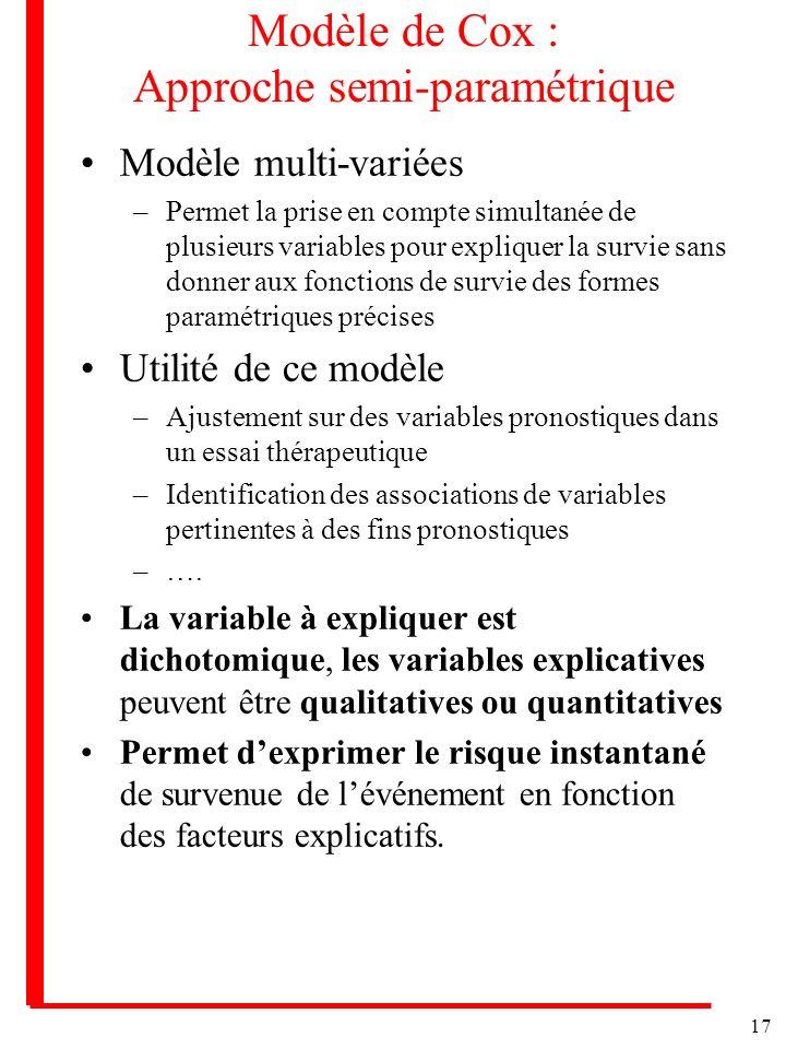 17 Modèle de Cox : Approche semi-paramétrique Modèle multi-variées –Permet la prise en compte simultanée de plusieurs variables pour expliquer la surv